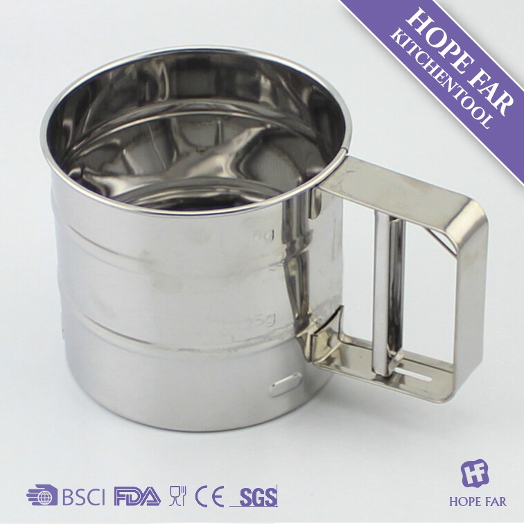 0300184 stainless steel sifter,kitchen utensils,kitchenware,Single-layer flour sifter