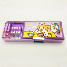 two compartments plastic pvc magnetic pencil case DMS019