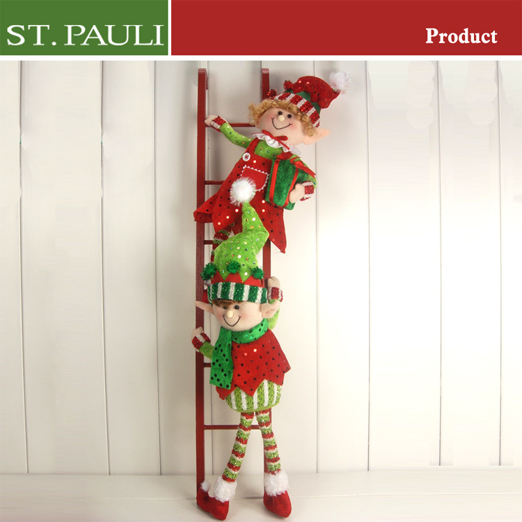 24 Inch Height Decorative Wooden Christmas Elf Ladder With Elves ...
