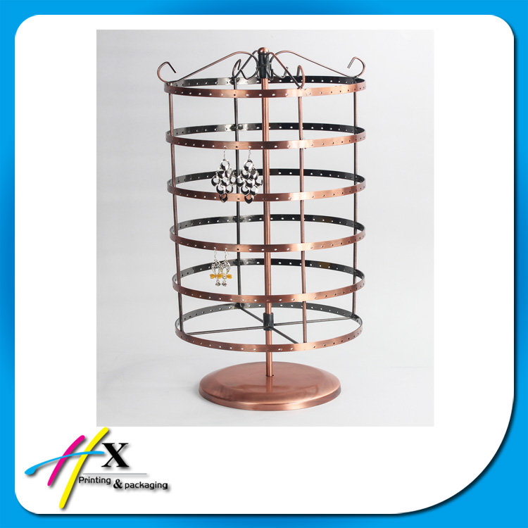 2017 Metal counter decorative rotating earring display stand for jewelry
