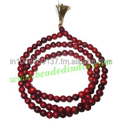 Red Sandal Wood Beads Mala, Holy Wood Beads-Seeds String (mala), size: 6mm