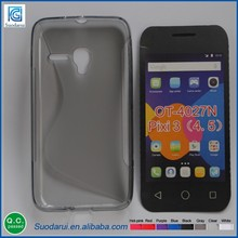 Hot selling case For Alcatel One Touch Pixi 3 OT-4027N 4.5 inch S- line soft gel case