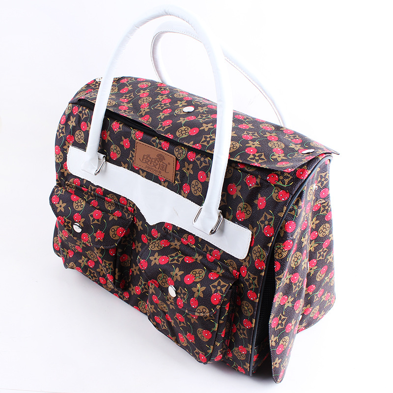 Cherry Printing Pet Carrier Dog Leather Foldable Pet Carrier