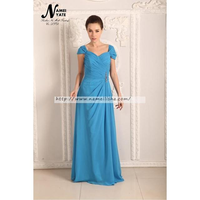 2017 Ocean Blue A Line Scoop Lace-up Sweep Train Short Sleeve Draped Ruffle Long Bridesmaid Dresses Matron of Honor Dress