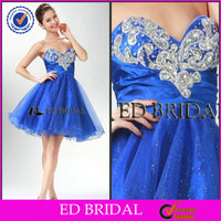 2014 A-Line Sweetheart Beaded Tulle Short Cocktail Dresses Short Royal Blue