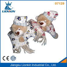 07129 stuffed plush sleeping bear holding pillow
