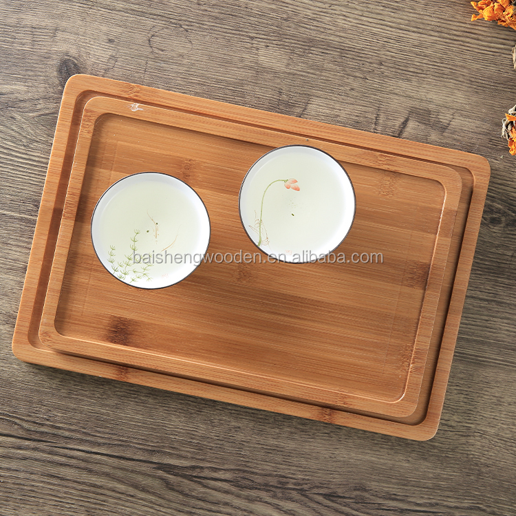 High Quality Rectangular BaiSheng Wooden Bamboo Serving Tray