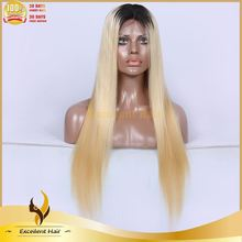 New Sale dark roots human hair blonde wigs silk straight Virgin Brazilian Full Lace Wigs & Lace Front Wigs