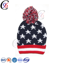 Chengxing beanie hat plain pompom hat custom fashion wholesale printed outdoor knitted pattern 100% acrylic winter beanie hats