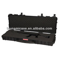High quality waterproof Lockable sports gun case with wheels,plastic hard gun carry case
