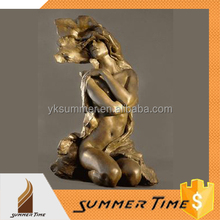 Nude woman in the wind of bronze sculpture