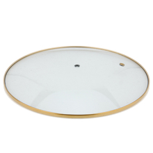 Tempered glass pot lid cover for various cooking pot with golden polish ring