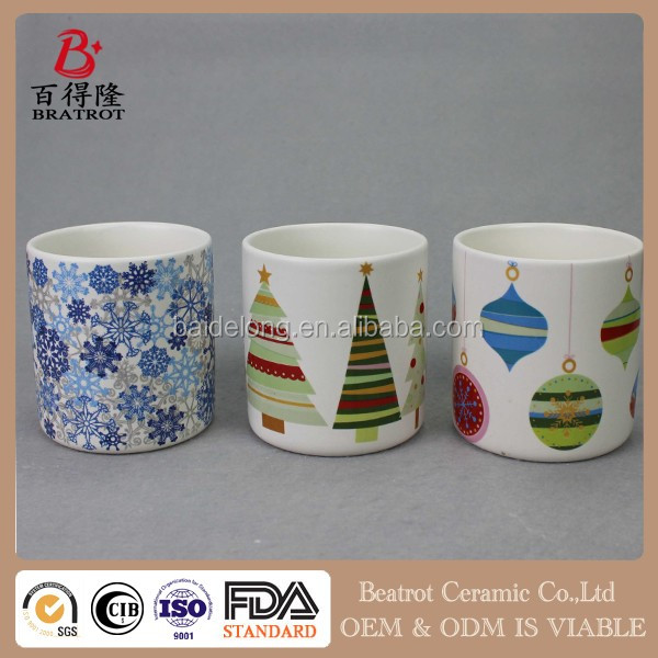 Christmas Ceramic jar Decorative Candle Holders with Matte Glazed surface