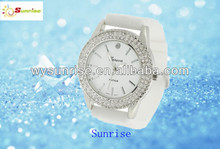 Geneva fashion silicone jelly candy wrist watch with rhinestone diamond