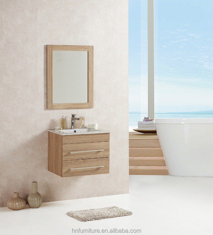 discount wall hung bathroom wooden cabinet with 2 drawers