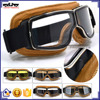 BJ-GT-011 Universal Yellow Leather Motorbike Motorcycle Vintage Helmet Goggles