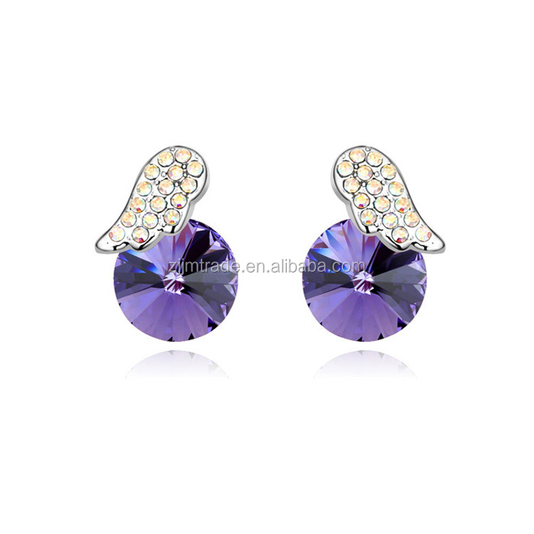 simple elegant wings shape Austrian crystal ear studs for party