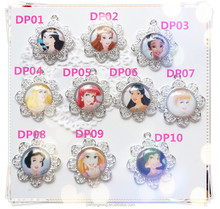 YW wholesale DIS children cartoon chunky flower pendants snow white/Arie/Bellel/Cinderella princess pendants!!