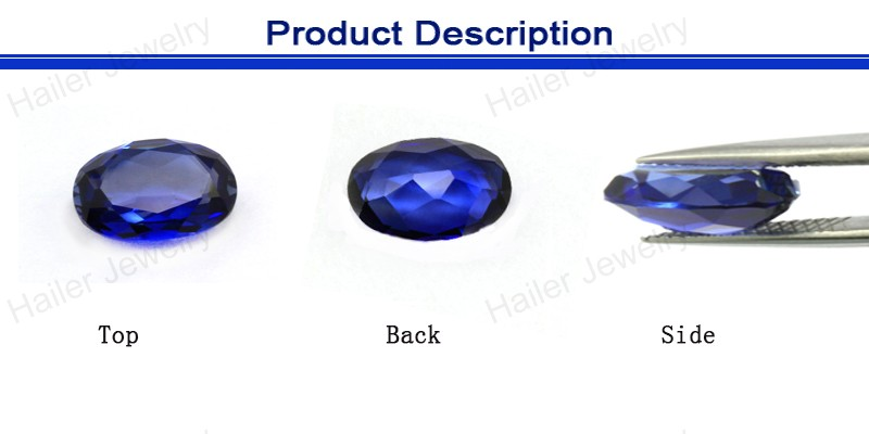 Oval cut wholesale blue sapphire lab created