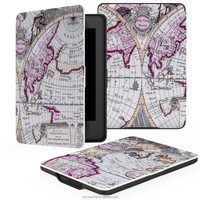 Colorful magnetic leather flip case for Amazon kindle paperwhite cover with Map A design