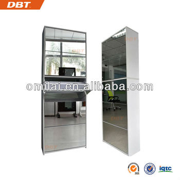 Fashion design MDF mirror cabinet 5 layers shoe cabinet