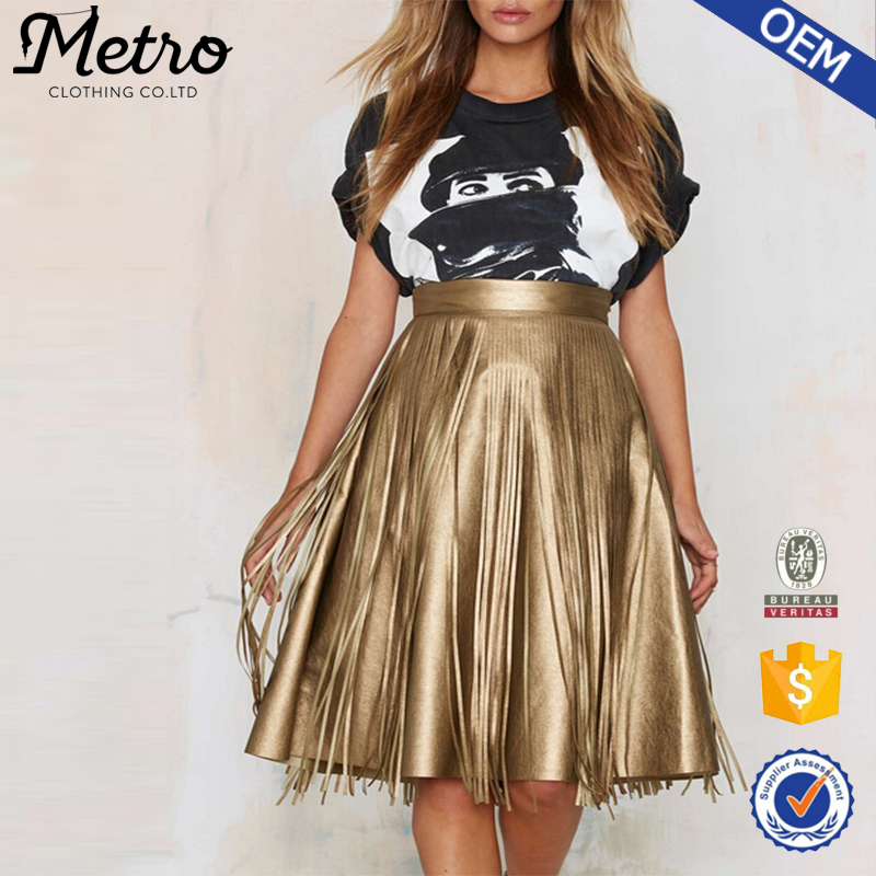 Women Fashion Gypsy Fringe Wholesale A-line Skirt in Gold