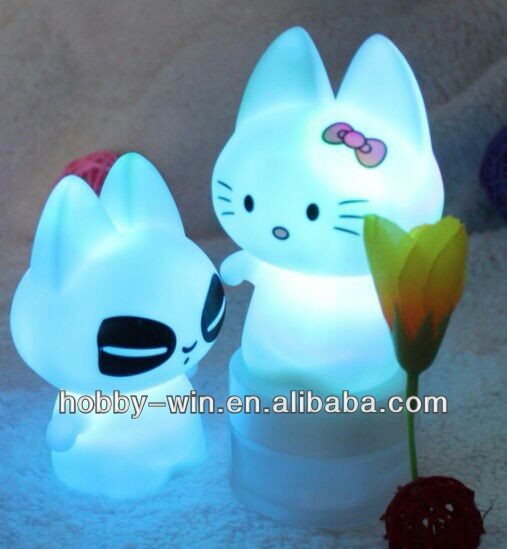 New Toys For Christmas 2014 Promotion Vinyl Toys For Children 7color changing LED light hello kitty adult toys