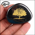 Wholesale Natural Hematite Engraved Tree of Life Palm Stone