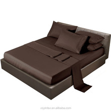 Wrinkle free solid chocolate microfiber cheap flat bed sheets
