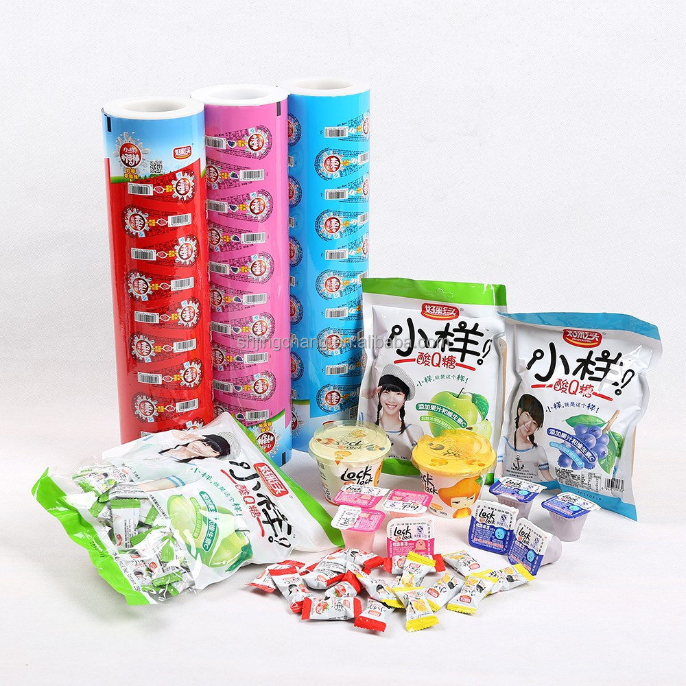 JC snack bar packaging film,candy/sugar laminated packaging film/bags,plastic cup package