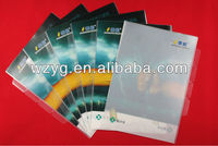 L-shaped plastic advertising folder with multiple pages