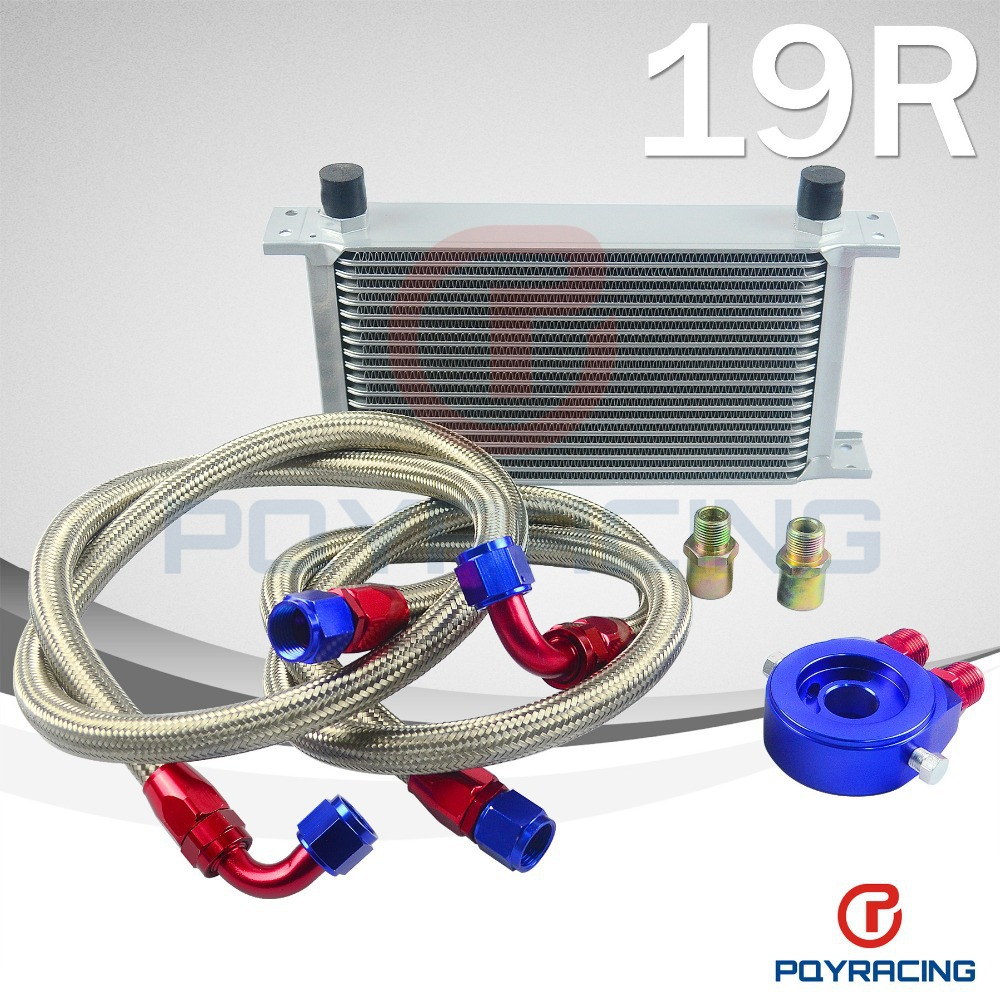 PQY STORE-AN10 OIL COOLER KIT 19RWOS TRANSMISSION OIL COOLER SILVER+OIL FILTER ADAPTER BLUE + STAINLESS STEEL BRAIDED HOSE