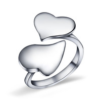 925 Sterling Silver Women's Lovely Jewelry Double Heart Trendy Openings Rings