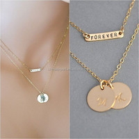 Initial Disc Necklace,Two Disc and Bar Necklace ,Monogram Letter Necklace