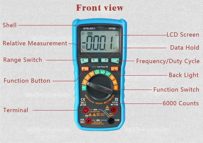 HY88 AC/DC low price Auto Ranging Digital Multimeter