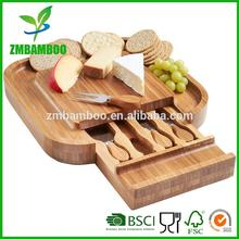Bamboo Cheese Board and 4 Piece Knife Set
