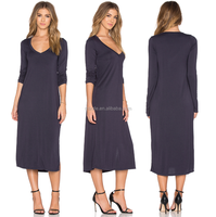 women long sleeve v-neck midi dress in dark gray solid knit casual fashionable plus size knee length dress manufacture