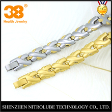 Medical products silver tone gold plated 5 in 1 negative ion magnetic germanium therapy 316 stainless steel bracelet