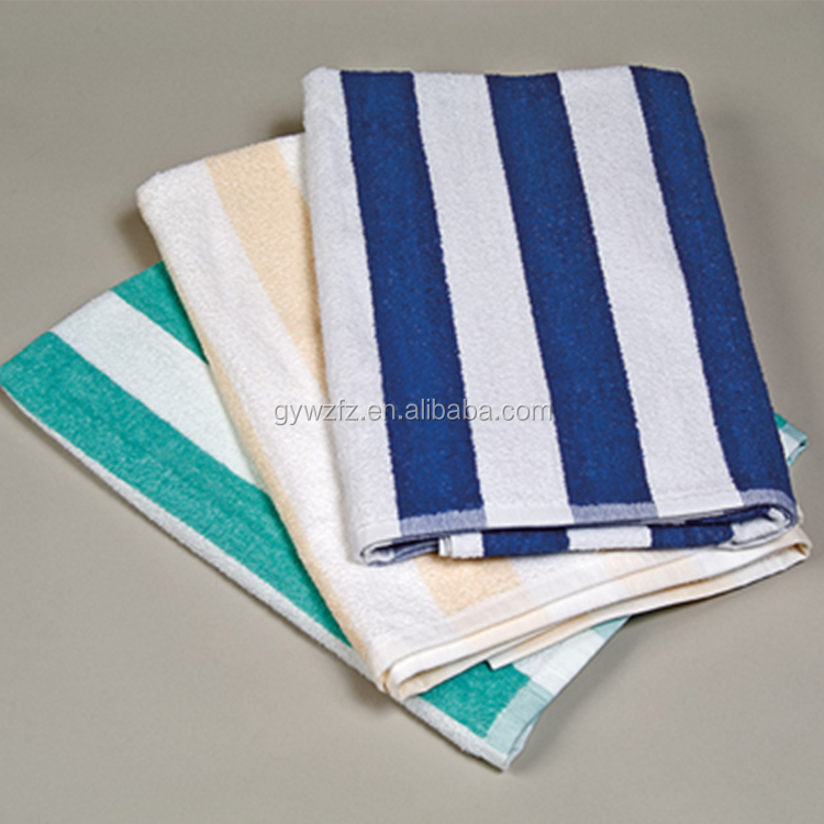 Blue and white stripe printed 100% cotton beach towel pool towel