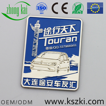Dalian Club gold metal car emblem with car name, free car pattern design, OEM/ODM service is provided
