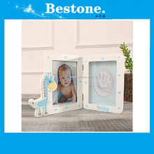 Hot High quality baby 3D plaster powder hand casting natural wooden photo frame