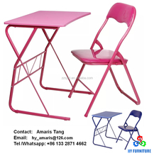Colorful metal folding table sets chidlren laptop study table and chair sets