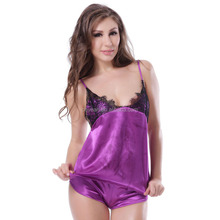 2016 New Arrival Excellent Quality Fantastic Purple Lace Babydoll Ladies Mature Silk Lingerie