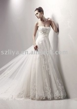 2012 New Arrive Flat Tulle Appliques Beaded Working Bridal Dress