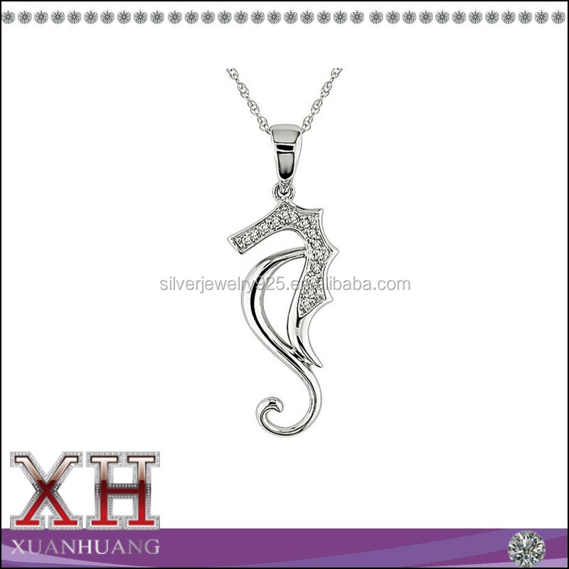 Xuanghuang Wholesale 925 Sterling Silver CZ Sea Horse Necklace Supply