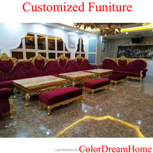 luxury classic italian style furniture French hardwood carving long dining table, gold painted luxury customized furniture