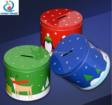 puzzle tin box for saving money/tin can money box for children