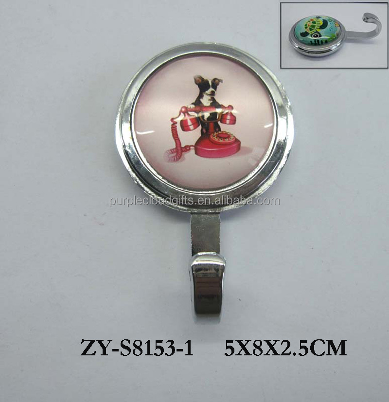 round small metal clothes hook animal design glass decoration, wall hook, hook for clothes