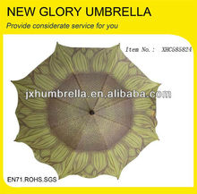 straight auto open sunflower umbrella with wooden handle