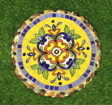 Ceramics Mosaic Stepping Stone, Outdoor Artificial Paving Stone, Mexico Style Stepping stone (BF01-P1009)
